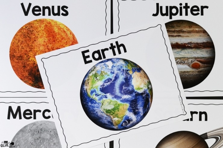 Overhead shot of what is included in the planet section of the Space Science Lesson Unit.