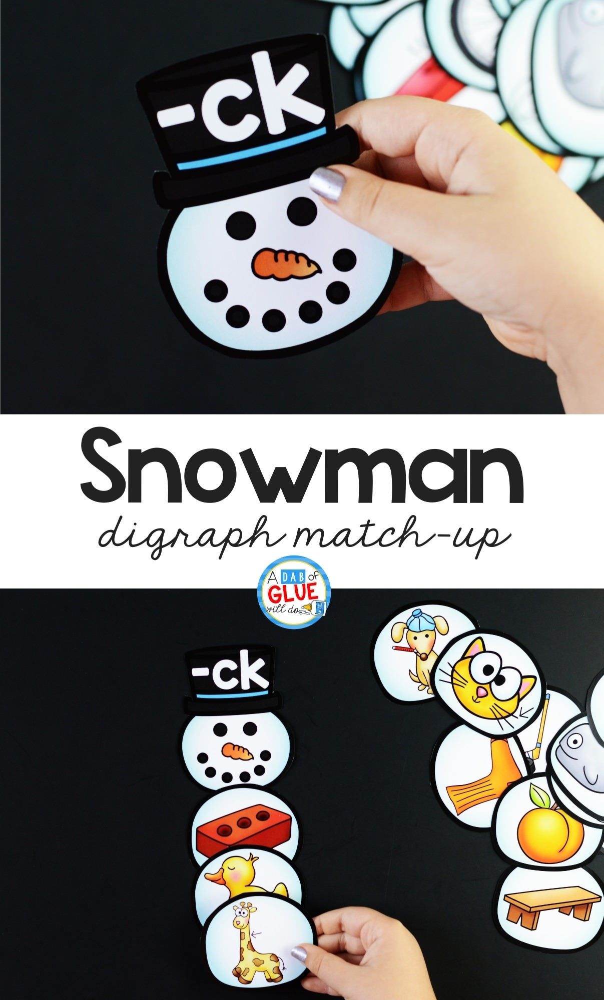 Snowman Digraph Match-Up Pinterest image.