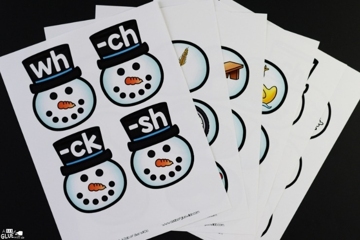 The snowman digraph match-up materials printed out.