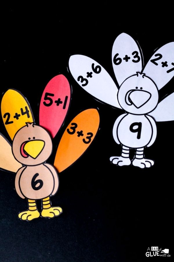 fun ways to learn math with these cute feather turkey editable activities