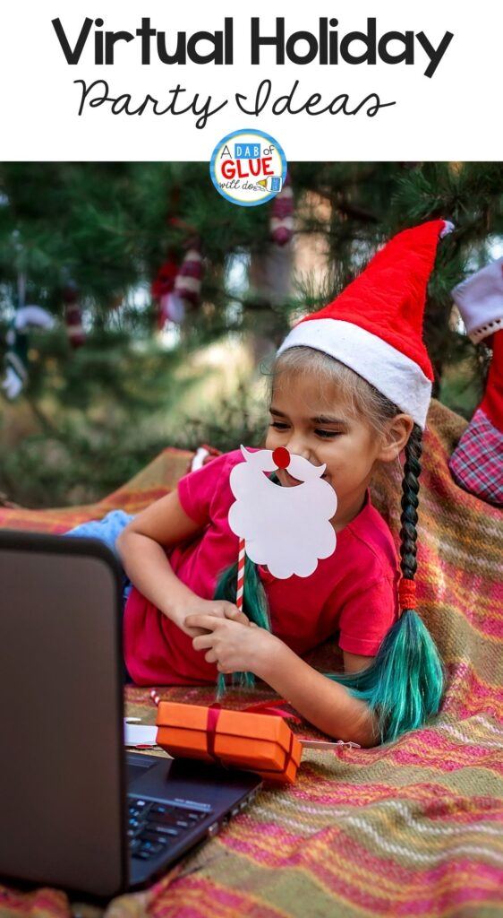 Little girl wearing a santa hat and mask during her winter holiday party virtual classroom